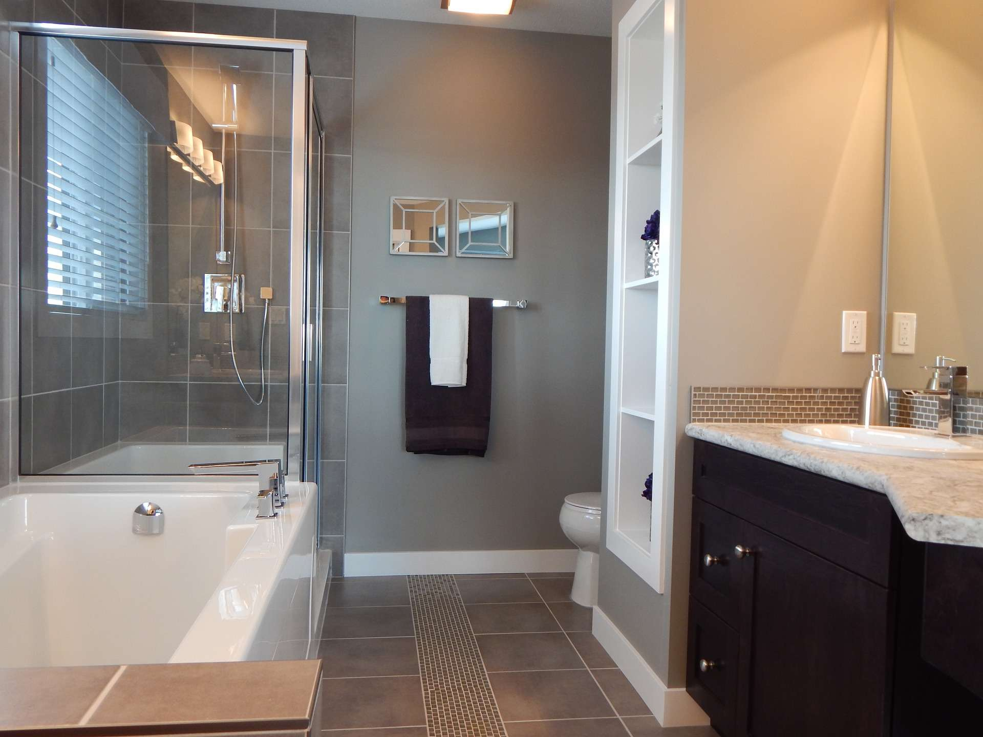 Renovated Bathroom different tile types