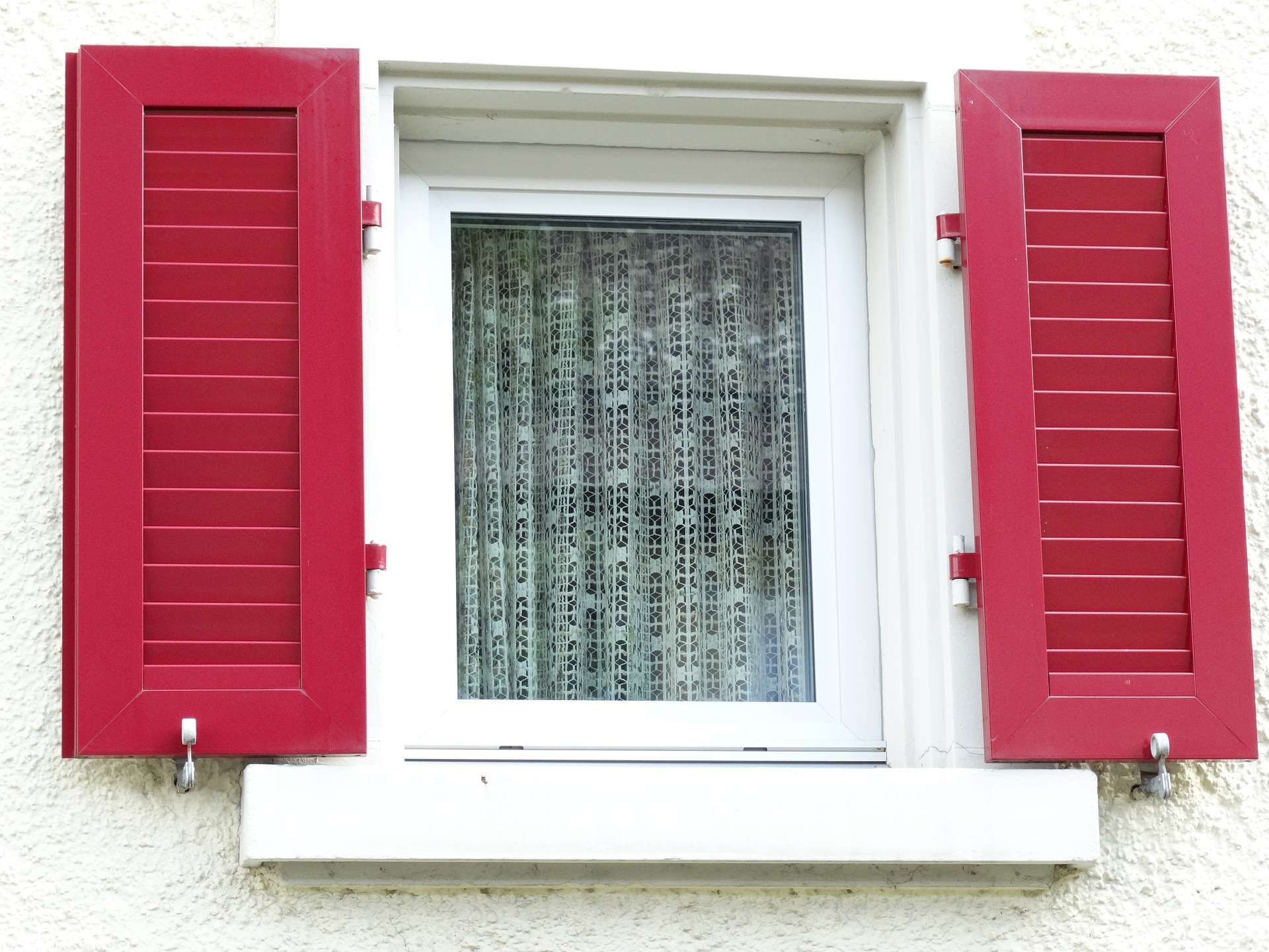 painted red shutters