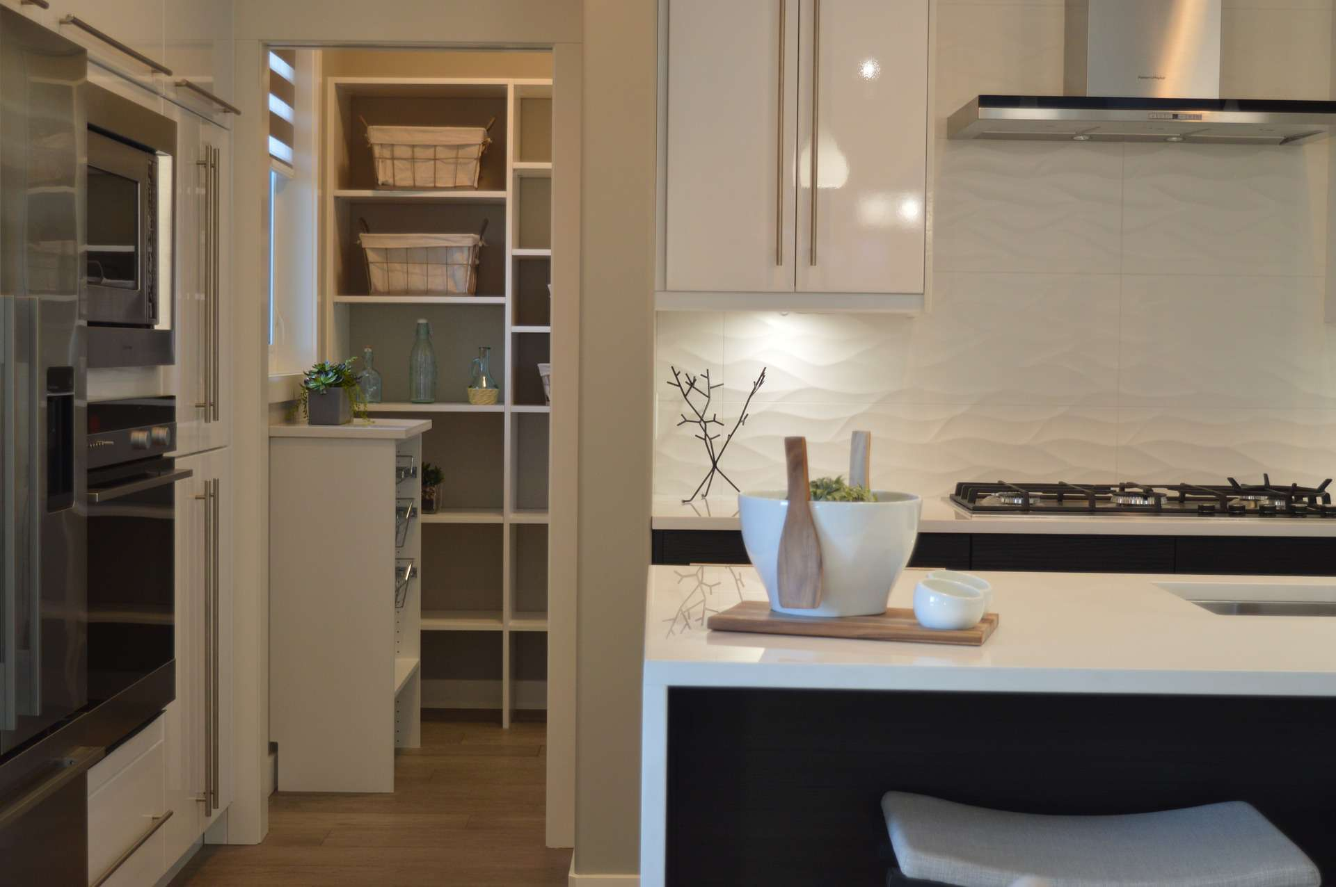kitchen with walk in pantry